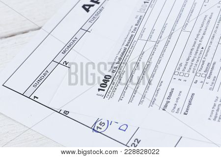 A Close Up Of A 1040 Tax Form. Us Individual Income Tax Return Form.