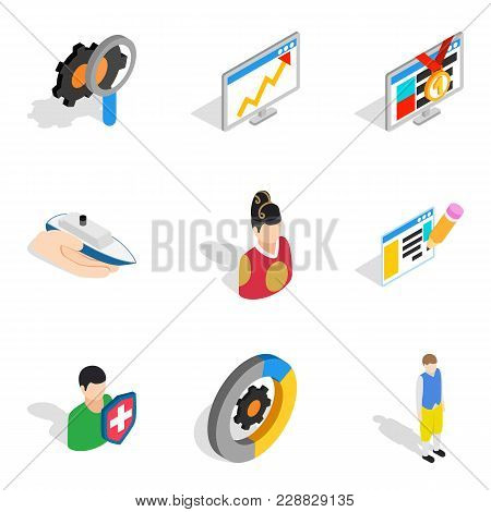 Human Potential Icons Set. Isometric Set Of 9 Human Potential Vector Icons For Web Isolated On White