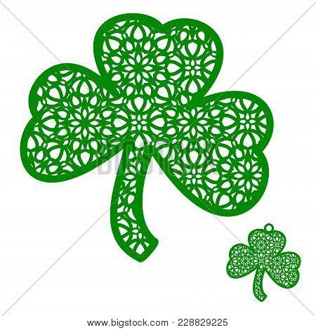 Vector Laser Cutting Element Ornamental Shamrock. Openwork Clover Leaf With A Lace Ornament. Perfect