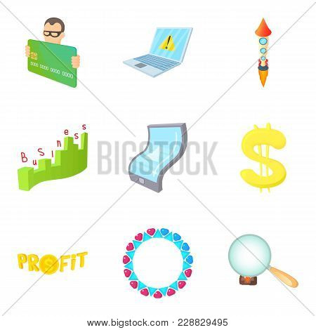 Money Trade Icons Set. Cartoon Set Of 9 Money Trade Vector Icons For Web Isolated On White Backgroun