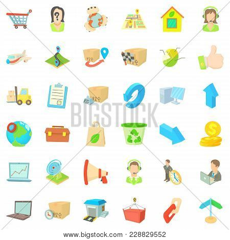 Parcel Icons Set. Cartoon Set Of 36 Parcel Vector Icons For Web Isolated On White Background