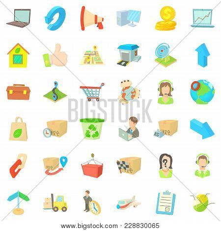 Transfer Package Icons Set. Cartoon Set Of 36 Transfer Package Vector Icons For Web Isolated On Whit