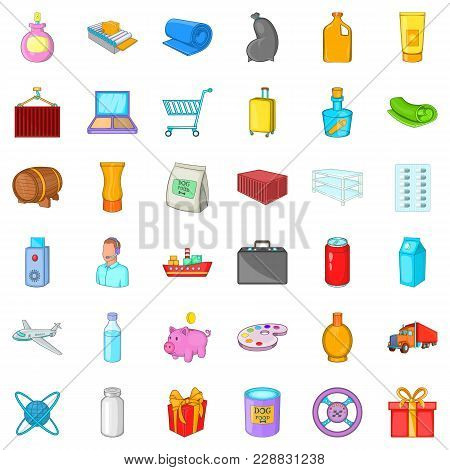 Scope Of Delivery Icons Set. Cartoon Set Of 36 Scope Of Delivery Vector Icons For Web Isolated On Wh