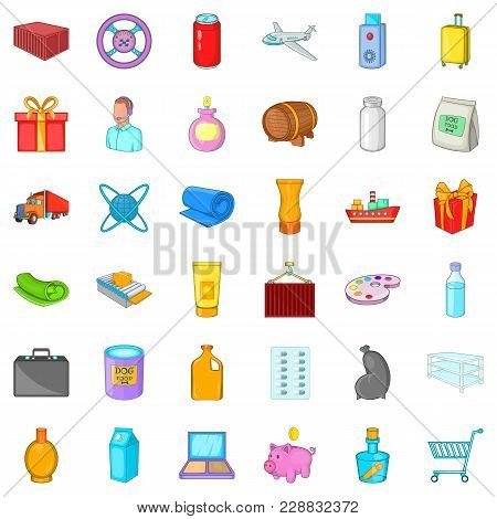 Freight Icons Set. Cartoon Set Of 36 Freight Vector Icons For Web Isolated On White Background