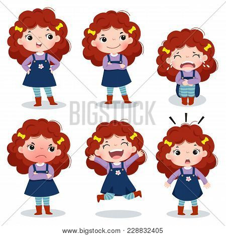 Illustration Of Cute Curly Red Hair Girl Showing Different Emotions