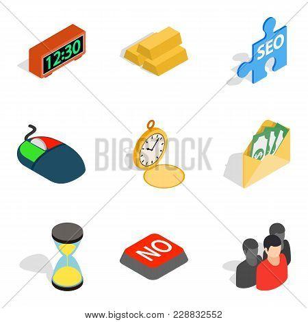 Transaction Icons Set. Isometric Set Of 9 Transaction Vector Icons For Web Isolated On White Backgro