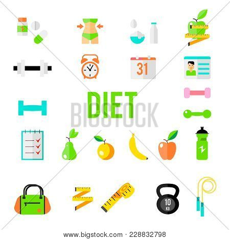 Fitness And Sport Vector Icons For Web And Mobile. Healthy Lifestyle Tools, Elements. Gym Bag Essent