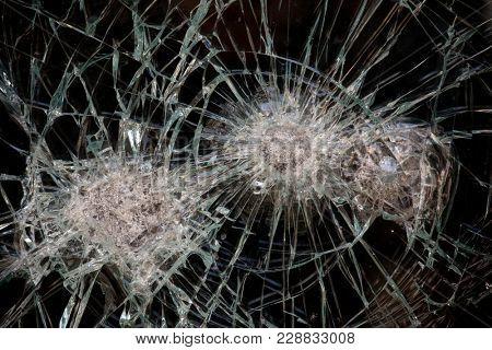 Broken glass, close up