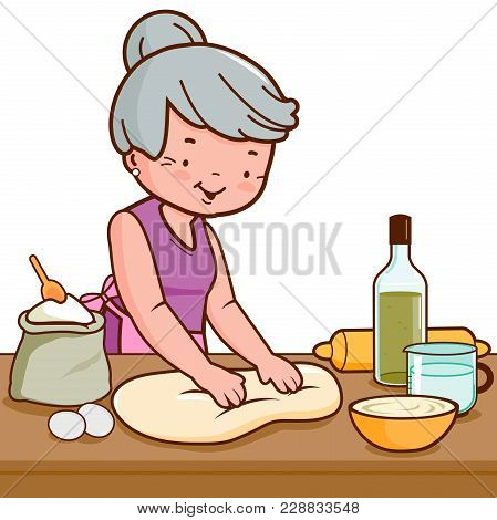 Grandmother Kneading Pastry Or Dough In The Kitchen. Vector Illustration.