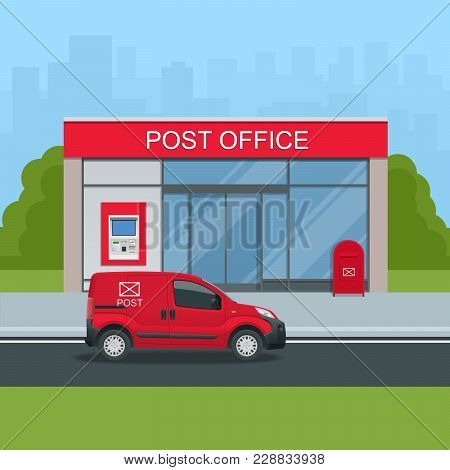 Building Of Post Office And Post Car. Correspondence Isolated Vector Illustration.