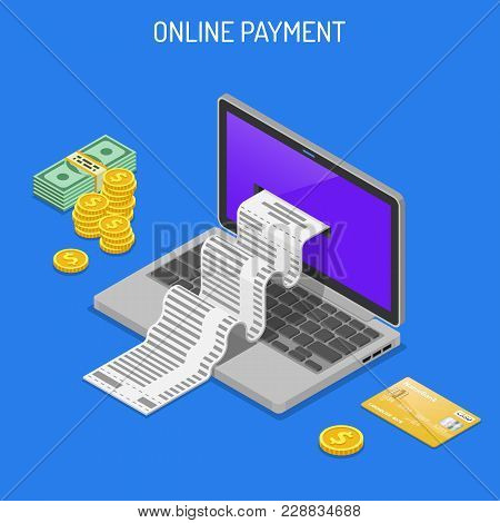 Laptop With Check, Credit Cards And Money. Internet Shopping And Online Electronic Payments Concept.