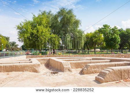 Remains of a settlement in Hili Archaeological Park, a Bronze Age site in Al Ain in the Emirate of Abu Dhabi, United Arab Emirates. poster