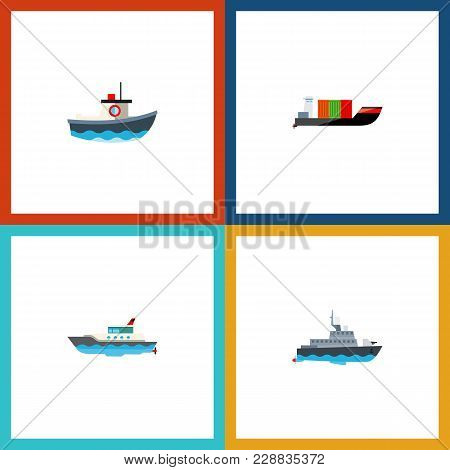 Icon Flat Boat Set Of Cargo, Yacht, Boat And Other Vector Objects. Also Includes Ship, Vessel, Trans