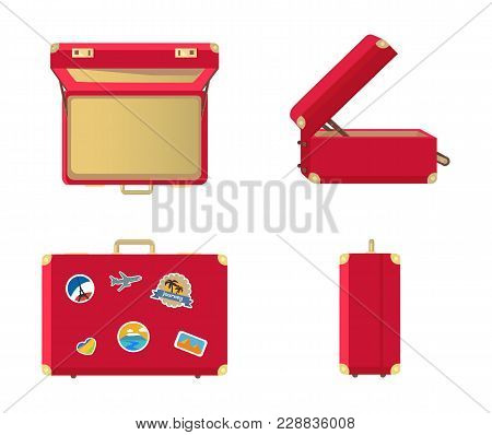 Set Of Leather Vintage Suitcases Closed And Open, Front Side And Top View, Memory Cards Flag Of Fran