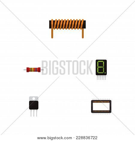 Icon Flat Electronics Set Of Unit, Calculator, Transistor And Other Vector Objects. Also Includes Bo
