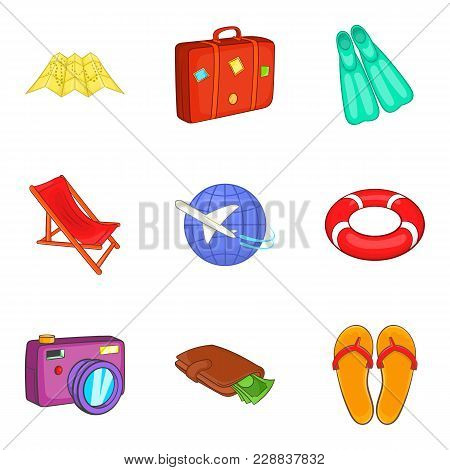 Wandering Icons Set. Cartoon Set Of 9 Wandering Vector Icons For Web Isolated On White Background