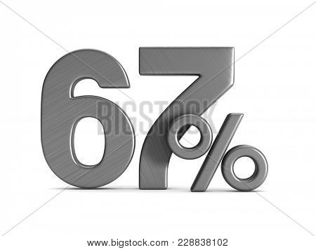 sixty seven percent on white background. Isolated 3D illustration