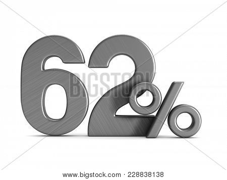 sixty two percent on white background. Isolated 3D illustration