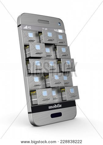 phone with filing cabinet on white background. Isolated 3D illustration