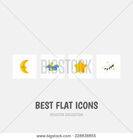 Icon flat bedtime set of nighttime, crescent, star and other vector objects. Also includes moon, night, midnight elements. poster