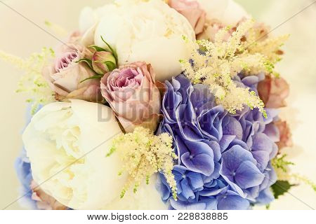 Bridal Bouquet. Wedding. Beautiful Bouquet Of White, Pink Flowers And Greenery, Decorated With Long