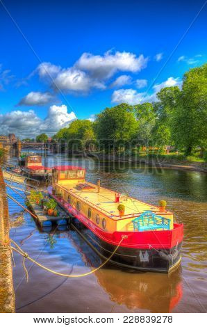 York Uk River Ouse With Colourful Boats In Hdr
