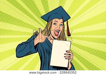Female Graduate Points A Finger At. Pop Art Retro Comic Book Cartoon Drawing Vector Illustration Kit