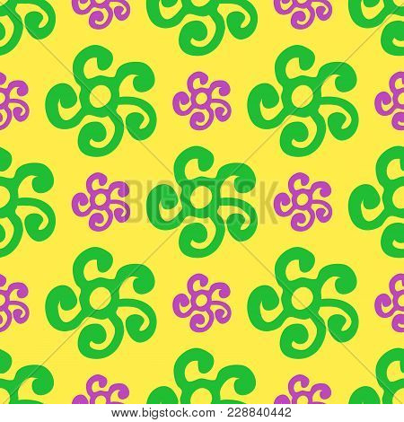 Round Ethnic Ornament Seamless Pattern. Vector. Yellow, Green, Purple. Seamless Pattern For Fabric B