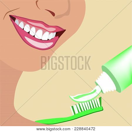 Vector Face Of Girl And Smile With Ideal Teeth, Toothbrush And Paste For Dental And Stomatological I