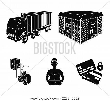 Truck, Courier For Delivery Of Pizza, Forklift, Storage Room. Logistics And Delivery Set Collection
