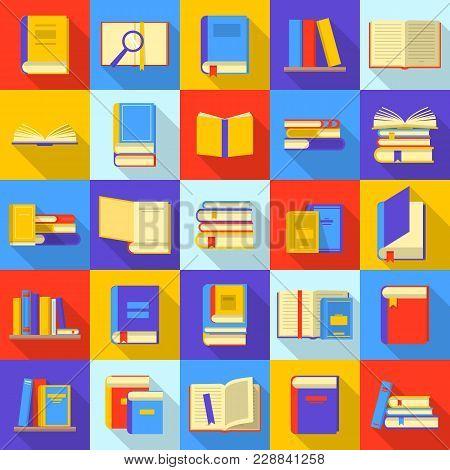 Books Library Education Icons Set. Flat Illustration Of 25 Books Library Education Vector Icons For