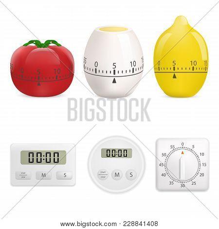 Kitchen Timer Mockup Set. Realistic Illustration Of 6 Kitchen Timer Mockups For Web