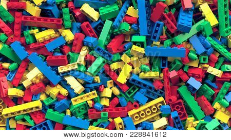 Lot Of Various Colored Toy Bricks Background. Educational Toy For Children. 3d Rendering