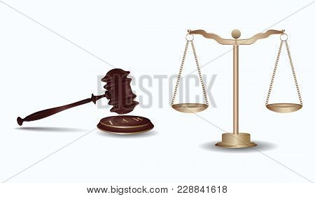 Judge's Hammer, Libra With Cups On The Chain, - Isolated On White Background - Art Vector