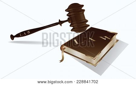 Book Of The Law With Metal Corners And Judge Hammer Realistic - Isolated On White Background - Art V