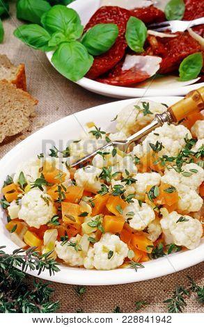 Vegetarian Appetizer And Antipasti, Marinated Cauliflower And Dried Tomatoes