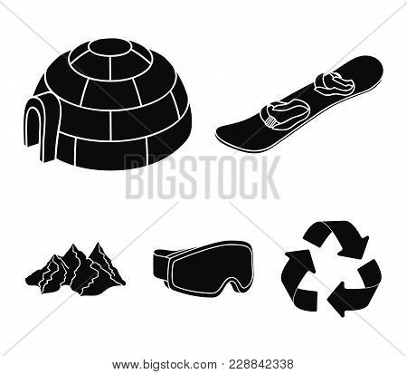 Mountains, Goggles, An Igloo, A Snowboard. Ski Resort Set Collection Icons In Black Style Vector Sym