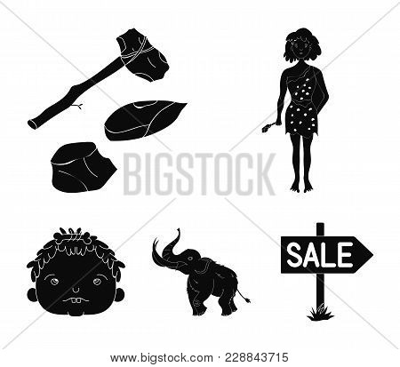 Weapon, Hammer, Elephant, Mammoth .stone Age Set Collection Icons In Black Style Vector Symbol Stock