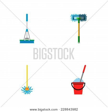 Icon Flat Broomstick Set Of Cleaning, Broomstick, Besom And Other  Objects. Also Includes Mop, Besom