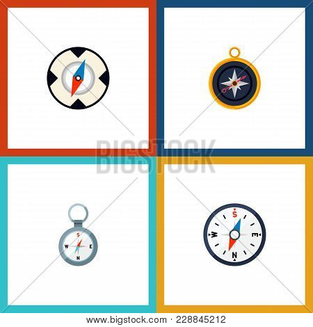 Icon Flat Orientation Set Of Compass, Divider, Direction And Other  Objects. Also Includes Direction