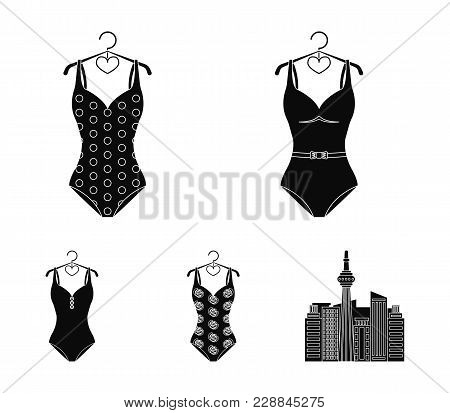 Different Kinds Of Swimsuits. Swimsuits Set Collection Icons In Black Style Vector Symbol Stock Illu