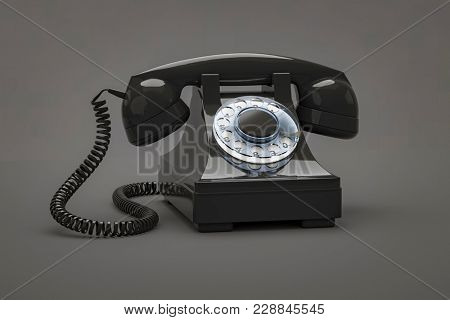 3d illustration of an old black phone