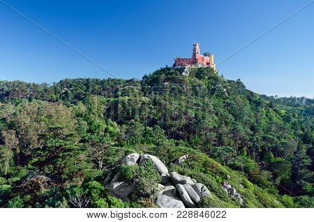 Unesco World Heritage Site Pena Palace. It Stands On The Top Of A Hill In The Sintra Mountains Above