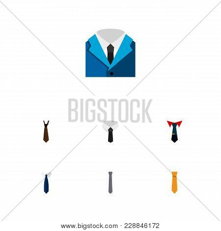 Icon Flat Tie Set Of Cravat, Shirt, Necktie And Other  Objects. Also Includes Necktie, Cravat, Colla