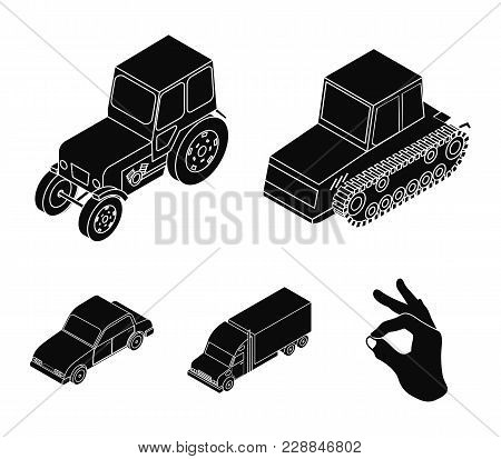 Tractor, Caterpillar Tractor, Truck, Car. Transport Set Collection Icons In Black Style Vector Symbo