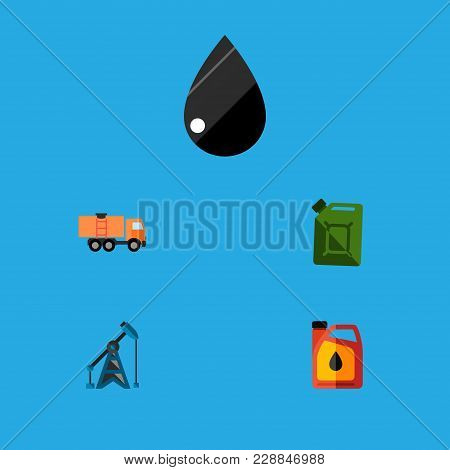 Icon Flat Fuel Set Of Fuel Canister, Oil Pump, Truck And Other  Objects. Also Includes Oil, Jerrycan