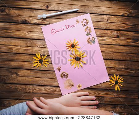 Child Creativity, Handmade. Dear Mom. Ikebana. Children's Hands Make A Postcard To Her Mother In Hon