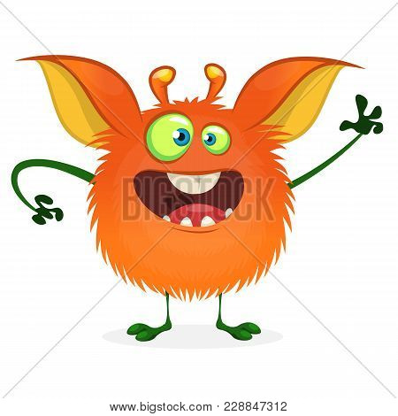 Cute Cartoon Orange Monster. Vector Fat Monster Mascot Character Isolated On White. Halloween Design