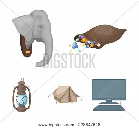 A Bag Of Diamonds, An Elephant's Head, A Kerosene Lamp, A Tent. African Safari Set Collection Icons