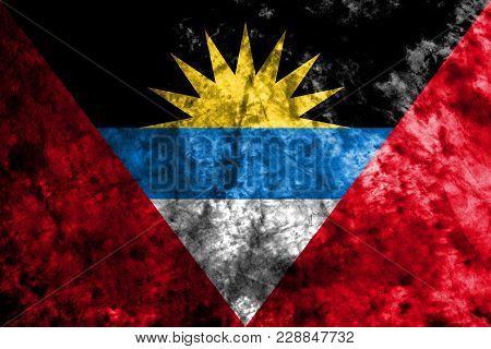 Antigua And Barbuda Grunge Flag On A Black Background